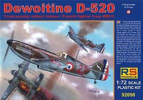 RS Dewoitine D520 French WWII Fighter Plastic Model Airplane Kit 1/72 Scale #92090