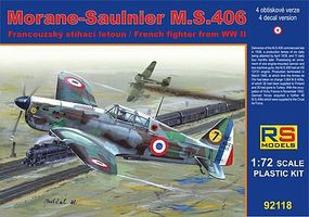 RS Morane Saulnier MS406 French WWII Fighter Plastic Model Airplane Kit 1/72 Scale #9211