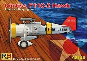 RS Curtiss F11C2 Hawk USN Fighter Plastic Model Airplane Kit 1/72 Scale #92146