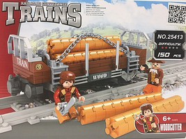 RRtrainblocks Flat Car W/logs 186p