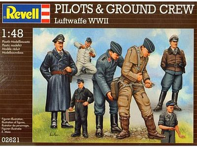 Revell of Germany WWII Luftwaffe Pilots & Ground Crew (7) -- Plastic Model Military Figure Kit -- 1/48 Scale -- #02621