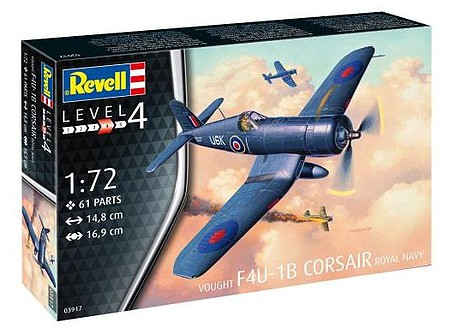 Revell-Germany F4U-1B Corsair Royal Navy Plastic Model Airplane Kit 1/72 Scale #03917