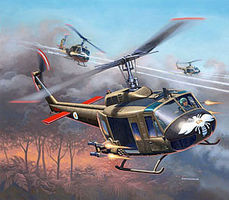 Revell-Germany Bell UHH-1H Gunship Plastic Model Helicopter Kit 1/100 Scale #04983