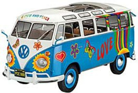 Revell-Germany VW T1 Samba Bus Flower Power Plastic Model Vehicle Kit 1/24 Scale #07050