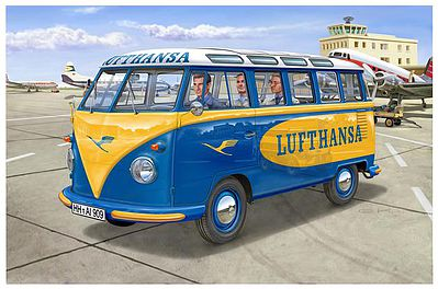 Revell of Germany VW T1 Samba Bus Lufthansa -- 1/24 Scale Plastic Model Vehicle Kit -- #07436
