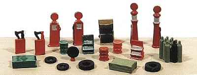 Railway-Express Deluxe Gas Station Detail Set 20 Pieces Model Railroad Building Accessory N Scale #2181