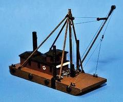 Sea-Port Derrick/Spud Barge w/Timber Stiff Leg Derrick N Scale Model Vehicle #h122n