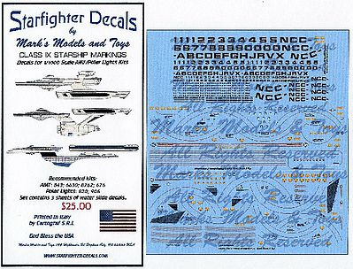 Starfighter Star Trek Class IX Starships for AMT & PLL Plastic Model Aircraft Decal 1/1000 Scale #100
