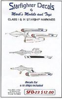 Starfighter Star Trek Class I & IX Starship Markings for 6 to 10 Ships Plastic Model Aircraft Decal #23