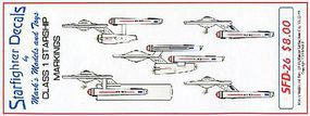 Starfighter Star Trek Class I Starship Markings for 5 Ships Plastic Model Aircraft Decal #26