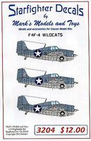 Starfighter F4F4 Wildcats for Trumpeter & Revell Plastic Model Aircraft Decal 1/32 Scale #3204