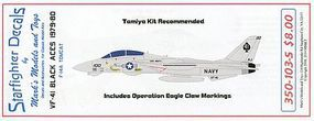 Starfighter F14A Tomcat VF41 Black Aces 1979-80 & Operation Eagles Claw Markings for TAM 1/350 #350103s