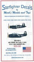 Starfighter USS Bunker Hill CV17 Air Group 84 Early Markings 1945 Model Aircraft Decal 1/350 #35022