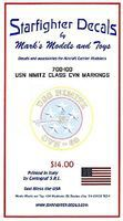 Starfighter USN Nimitz Class CVN68 for Trumpeter Plastic Model Ship Decal 1/700 Scale #700100