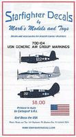 Starfighter USN Generic Air Group Markings 1945 Plastic Model Aircraft Decal 1/700 Scale #700104