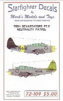 Starfighter TBD1 Devastators Pt.2 Neutrality Patrol Plastic Model Aircraft Decal 1/72 Scale #72109