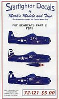 Starfighter F8F Bearcats F8F1 Pt.2 Decals Plastic Model Aircraft Decal 1/72 #72121