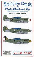 Starfighter Pre-War P40B USAAC Plastic Model Aircraft Decal 1/72 Scale #72134