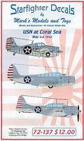 Starfighter USN at Coral Sea Decals Plastic Model Aircraft Decal 1/72 Scale #72137
