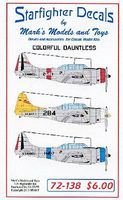 Starfighter Colorful Dauntless Decals Plastic Model Aircraft Decal 1/72 Scale #72138