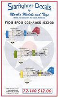 Starfighter F11C2 & BFC2 Goshawks 1933-38 Plastic Model Aircraft Decal 1/72 Scale #72140