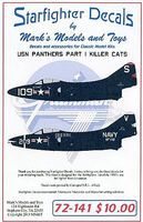 Starfighter F9F2/F9F3 USN Panthers Killer Cats Pt.1 for HBO Plastic Model Aircraft Decal 1/72 #72141