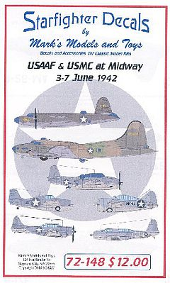 Starfighter Decals USAAF & USMC at Midway 3-7 June 1942 -- Plastic Model Aircraft Decal -- 1/72 Scale -- #72148