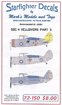 Starfighter SBC4 Helldiver Pt.4 for HLR Plastic Model Aircraft Decal 1/72 Scale #72150