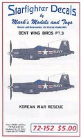 Starfighter Bent Wings Bird Part 3 Korean War Rescue for RVL Plastic Model Aircraft Decal 1/72 #72152