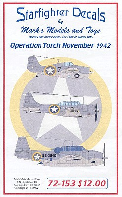 Starfighter Decals 1/72 F4F4, TBF1, SBD3, SOC Seagull, L4A Operation Torch Nov 1942