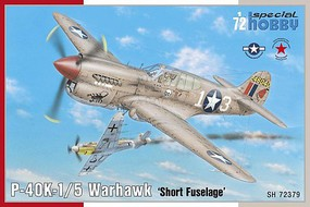 Special P40K1/5 Warhawk Short Fuselage Fighter Plastic Model Airplane Kit 1/72 Scale #72379