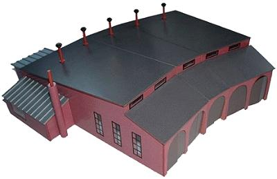 Scale University 5-Stall Wooden Roundhouse -- Kit - 26 x 31 x 7'' 66 x 78.7 x 17.8cm - O-Scale