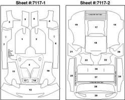 Scale-Motor 1997 Porsche 911 GT1 Template Comp. Fiber Decal Set Plastic Model Vehicle Decal 1/24 #7117