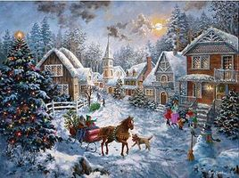 Sunsout Merry Christmas Scene Jigsaw Puzzle 600-1000 Piece #19236