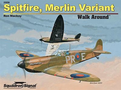 Squadron Spitfire Merlin Variant Walk Around Authentic Scale Model Airplane Book #25056