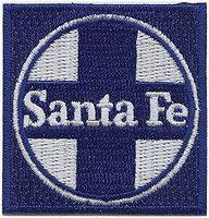 Sundance Santa Fe (Blue, White, Circle/Cross Logo) 2 Square Cloth Railroad Patch #71043