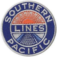 Sundance Southern Pacific (Sunset Lines Logo, Blue, Orange, White) 2 Cloth Railroad Patch #71050