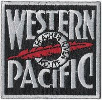 Sundance Western Pacific (Featuer River Route, Black, White, Red) 2 Cloth Railroad Patch #71088
