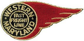 Sundance Western Maryland (Fireball, Black, Gold, Red) 3'' Horizontal Cloth Railroad Patch #73107