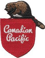 Sundance Canadian Pacific (Beaver on Shield, Script, Red, Brown) 2-1/8 Cloth Railroad Patch #75021