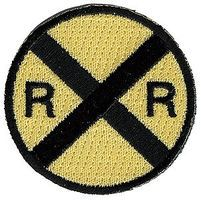 Sundance Railroad Crossing (RXR Advance Warning, Yellow, Black) 2 Cloth Railroad Patch #76064