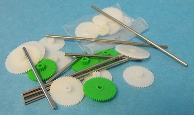 Stevens-Motors Assorted Small Plastic Motor Gears & Metal Shafts (27pcs)