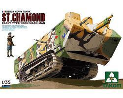 Takom French Heavy Tank St Chamond Plastic Model Military Vehicle Kit 1/35 Scale #2002