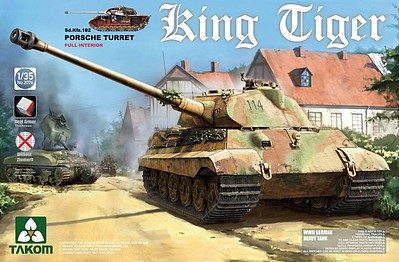Takom Models King Tiger Porsche with Int -- Plastic Model Military Vehicle Kit -- 1/35 Scale -- #2074