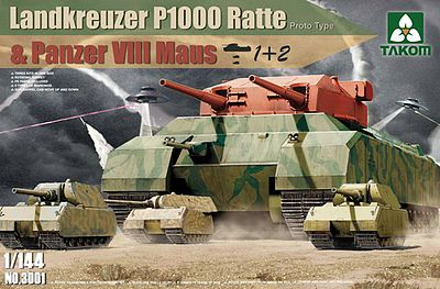 Takom WWII HBT Landkreuzer P1000 Ratte 3n1 Plastic Model Military Vehicle Kit 1/144 Scale #3001