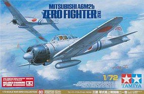 Tamiya A6M2B Zero Fighter (Zeke) w/Marking Options Plastic Model Airplane Kit 1/72 Scale #25170