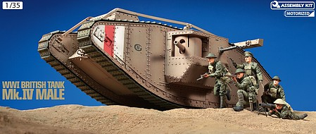 Tamiya WWI British Mk IV Male Tank with Motor Plastic Model Military Vehicle Kit 1/35 Scale #30057