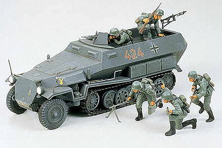 Tamiya German Hanomag Sd.Kfz. 251/1 Halftrack -- Plastic Model Military Vehicle Kit -- 1/35 Scale -- #35020