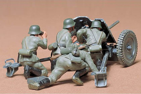 Tamiya German 37mm Anti-Tank Gun -- Plastic Model Military Diorama Kit -- 1/35 Scale -- #35035