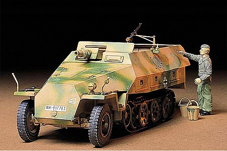 Tamiya German Sd.Kfz. 251/9 Kanonenwagen -- Plastic Model Military Vehicle Kit -- 1/35 Scale -- #35147